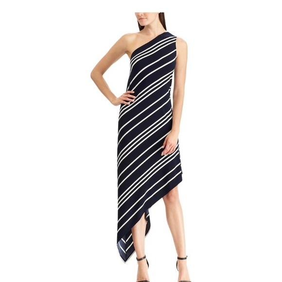 Chaps Dresses Womens Asymmetrical Striped Dress Large Poshmark